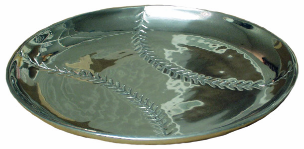 Round Baseball Silver Platter<br>LESS THAN 5 LEFT!