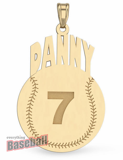Round Baseball with Name & Number Pendant<br>GOLD or SILVER<br>NOT GUARANTEED FOR CHRISTMAS DELIVERY