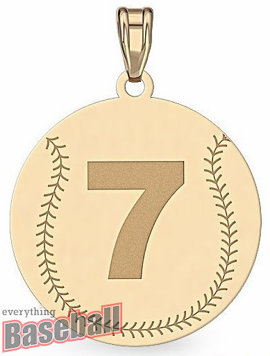 Round Baseball with Number Pendant<br>GOLD or SILVER<br>NOT GUARANTEED FOR CHRISTMAS DELIVERY