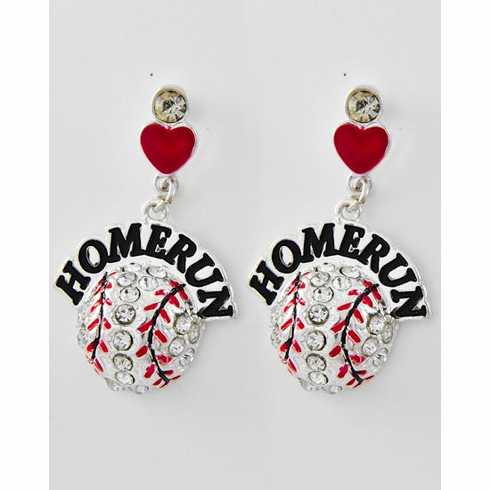 Round Crystal Baseball HOMERUN Post Earrings