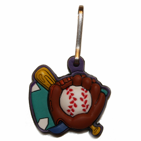 Rubber Baseball Zipper Pull