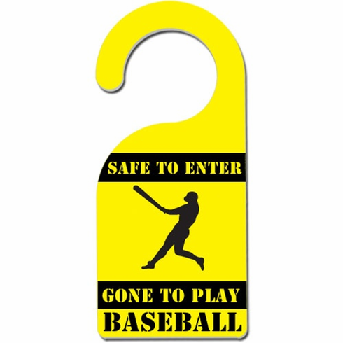 Safe to Enter Baseball Aluminum Door Knob Hanger<br>LESS THAN 6 LEFT!