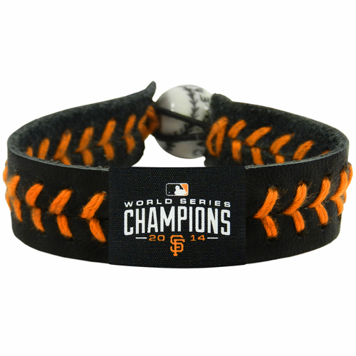 San Francisco Giants 2014 World Series Champions Baseball Seam Team Colored Bracelet<br>LESS THAN 6 LEFT!