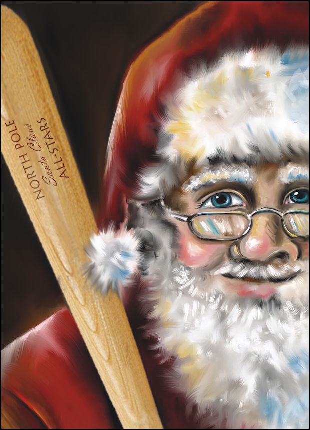 Santa with Baseball Bat Christmas Cards