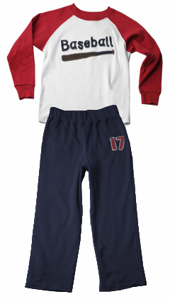 Sara's Prints Children's Size 4 Baseball Pajama Set<br>ONLY 2 LEFT!