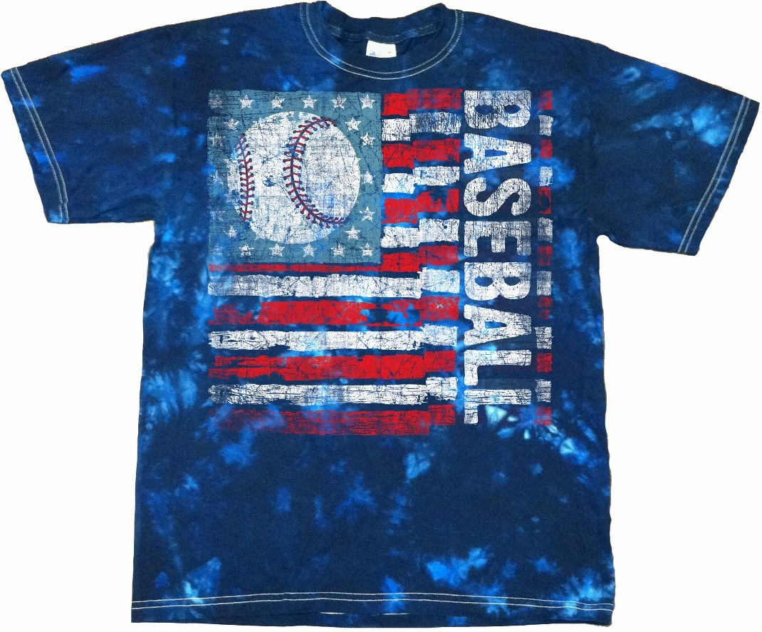 Scuffed Baseball USA Flag Blue Vat Dye Adult T-Shirt