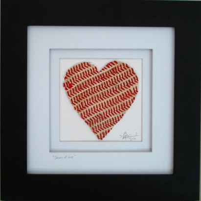 Seams of Love Baseball Heart Original Artwork