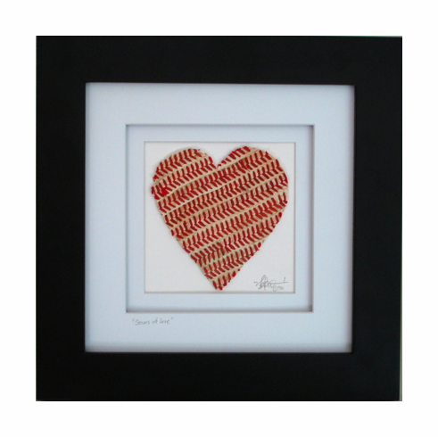 Seams of Love Baseball Heart Original Artwork<br>ONLY 1 LEFT!