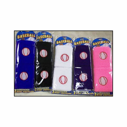 Set of 2 Embroidered Baseball Wristbands<br>5 COLOR OPTIONS!