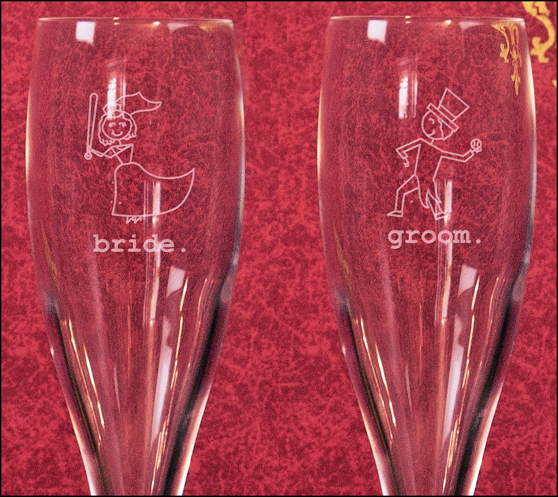 Set of 2 Etched Baseball Bride and Groom 6oz Titanium Toasting Glasses<br>3 DESIGNS!