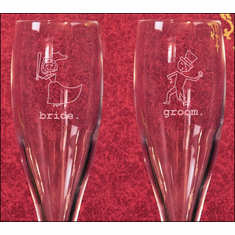 Set Of 2 Etched Baseball Bride And Groom 6oz Anium Toasting Gles Br 3