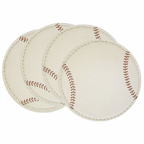 Set of 4 White Baseball Coasters