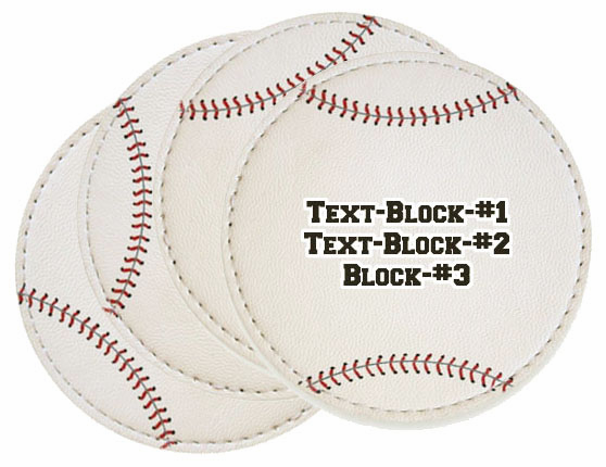 Set of 4 Personalized White Baseball Coasters