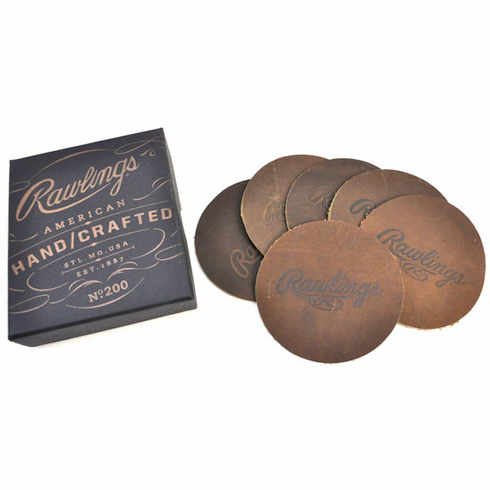 Set of 6 American Handcrafted Vintage Leather Coasters by Rawlings<br>LESS THAN 6 SETS LEFT!