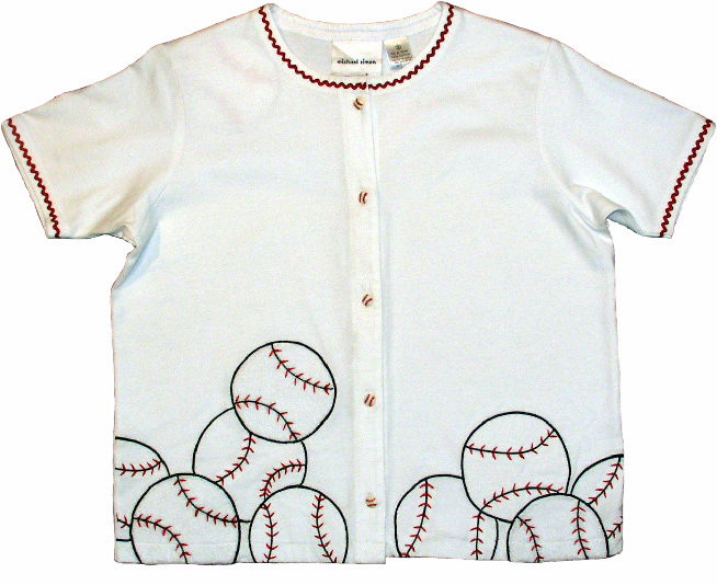 Short Sleeve Ladies Baseball Cardigan by Michael Simon<br>Small or Medium