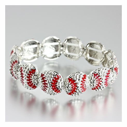 Silver and Red Baseballs Stretchy Bracelet