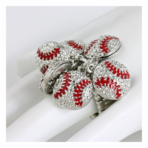 Silver and Red Baseballs Stretchy Ring<br>ONLY 1 LEFT!