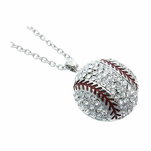 """Silver and Red Crystal Baseball 18"""" Necklace"""