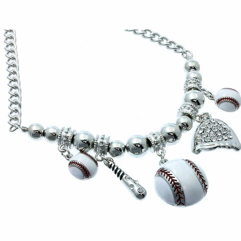 "Silver Baseball Charms 18"" Necklace"