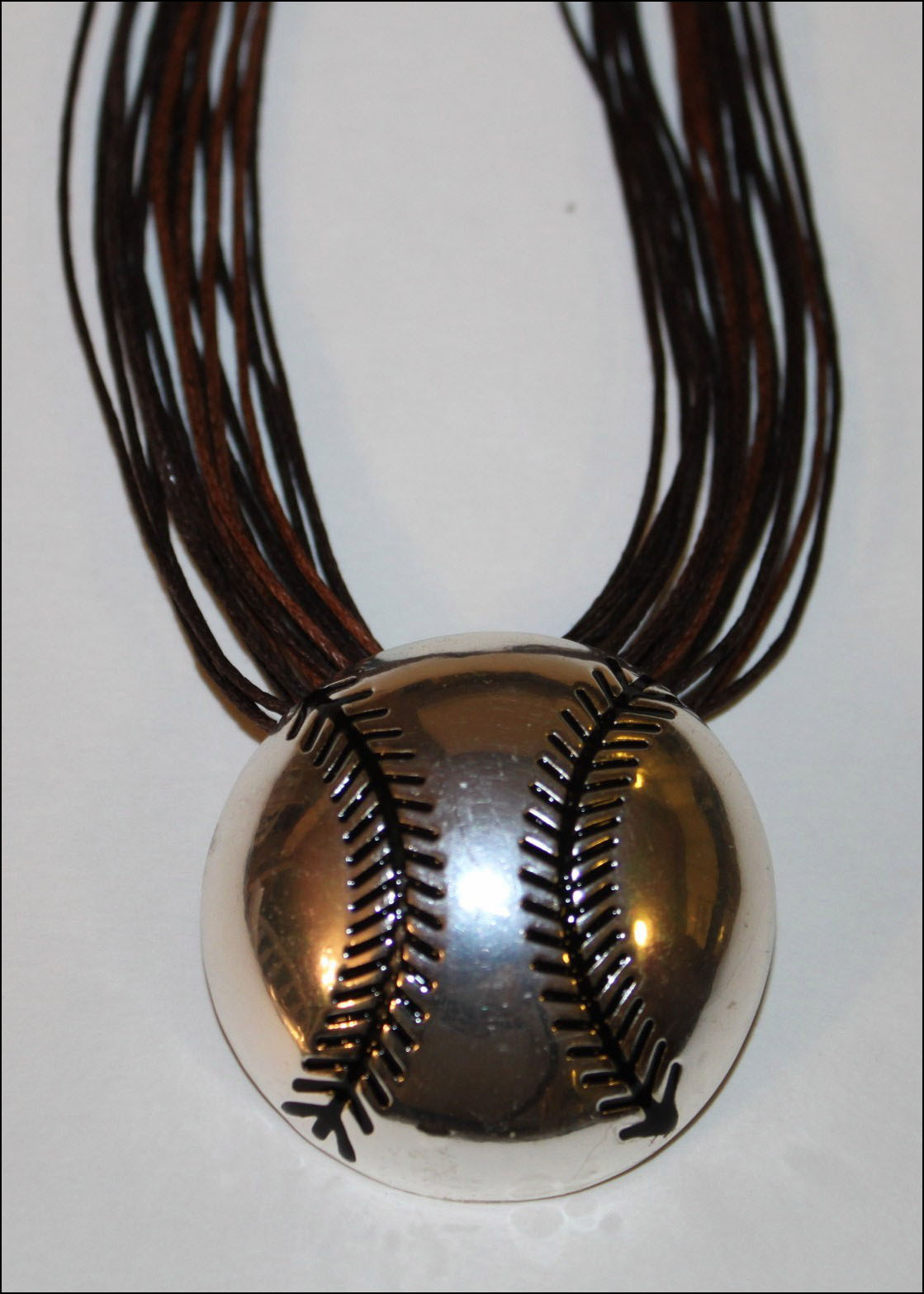 Silver Baseball Clip-on Pendant with Brown Multistrand Necklace