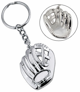 Silver Baseball Glove Key Ring