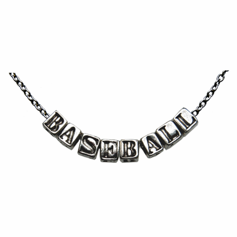 Silver Baseball Letter Necklace<br>LESS THAN 3 LEFT!