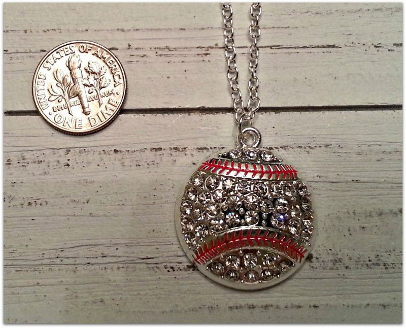 Silver Crystal Baseball Necklace