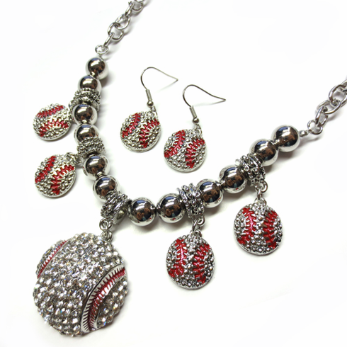 Silver Crystal Baseball Rhinestone Charms Necklace with Earrings<br>ONLY 6 LEFT!