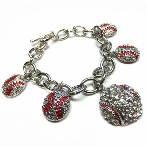 Silver Crystal Baseball Rhinestone Charms Toggle Bracelet<br>ONLY 6 LEFT!