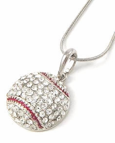 Silver Crystal Baseball Rhinestone Necklace<br>ONLY 5 LEFT!