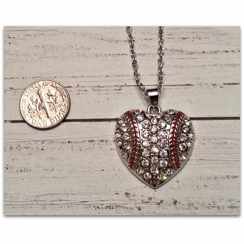 Silver Crystal Heart Baseball Necklace