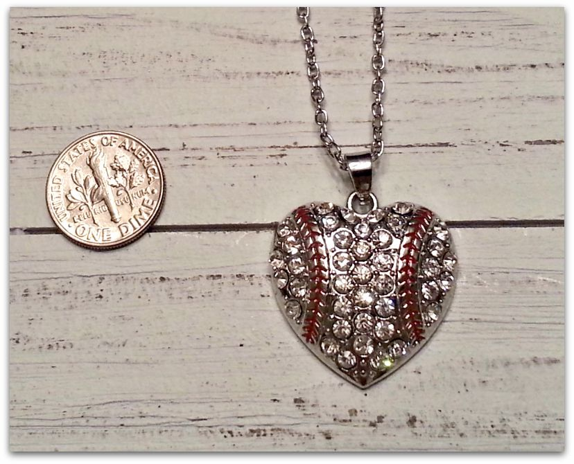 WEEKLY SPECIAL #11<br>Silver Crystal Heart Baseball Necklace