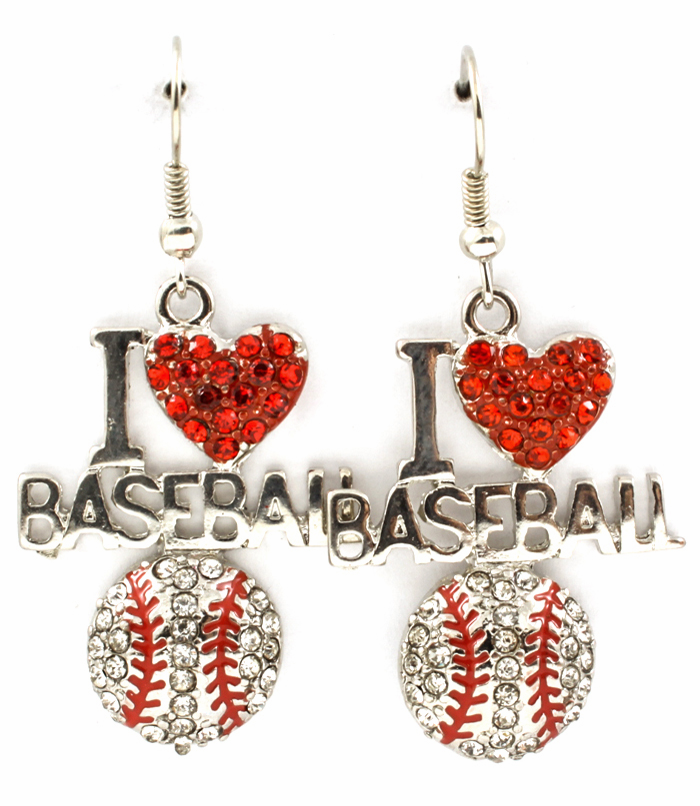 Silver Crystal I Heart Baseball Dangle Hook Earrings