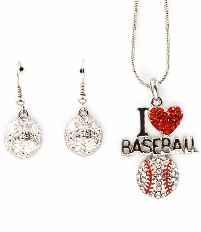"Silver Crystal I Heart Baseball Pendant with 18"" Necklace and Matching Dangle Earrings"