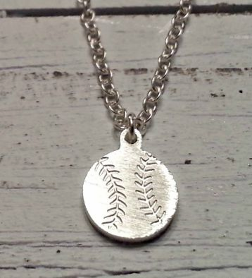 "Silver Mini Baseball Charm with 18"" Necklace"