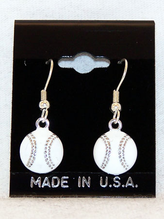 Silver Stitches Baseball Earrings