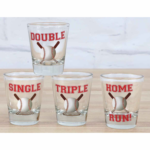 Single Double Triple Home Run! Set of 4 Baseball Shot Glasses