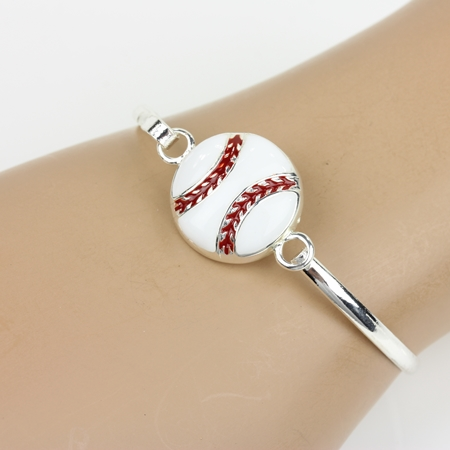 Single White Baseball Bangle Bracelet