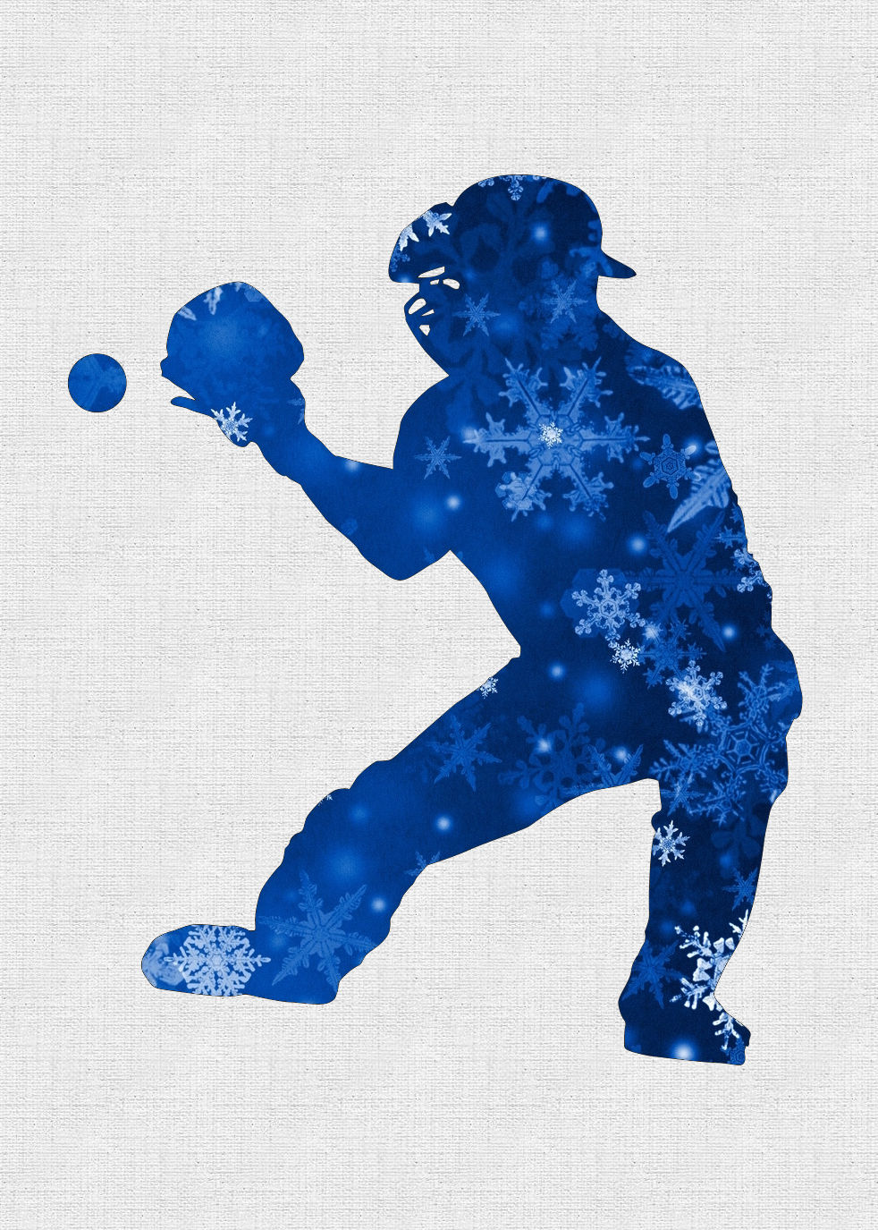 Personalized Snowflakes Silhouette Baseball Catcher Holiday Cards<br>5 PACK MINIMUM!