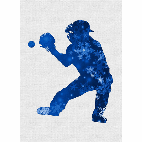 Snowflakes Silhouette Baseball Catcher Holiday Cards<br>6 PACK MINIMUM!