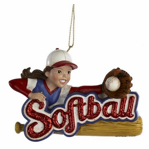 Softball Girl Resin Ornament