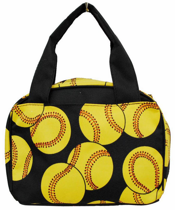 NGIL Softballs on Black Insulated Lunch Bag<br>ONLY 6 LEFT!