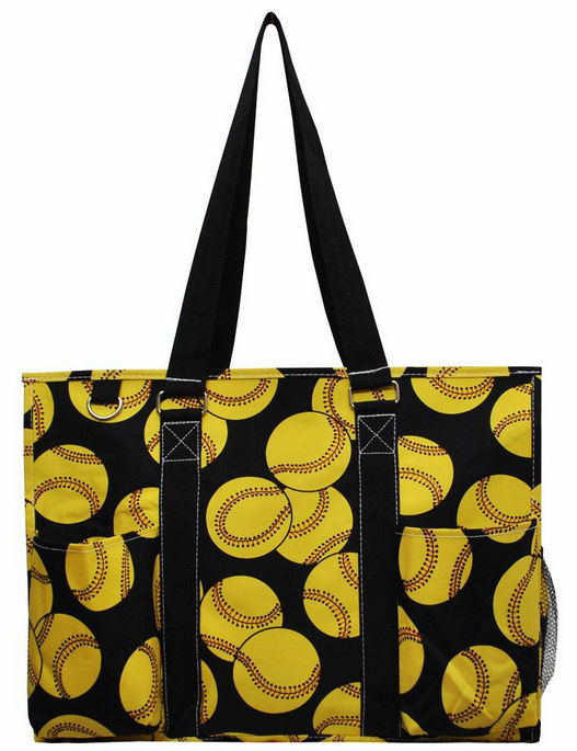 NGIL Softballs on Black Large Utility Canvas Tote Bag<br>ONLY 5 LEFT!