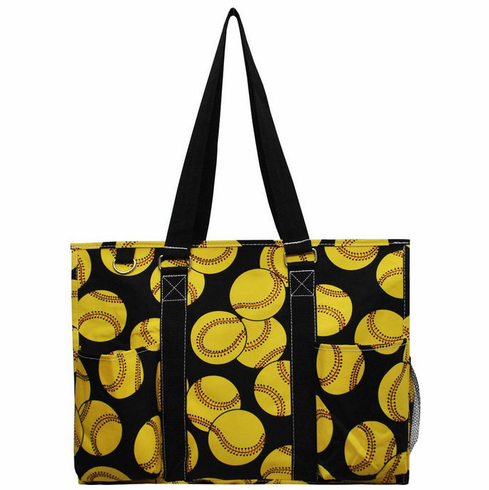 Softballs on Black Large Utility Canvas Tote Bag<br>ONLY 5 LEFT!