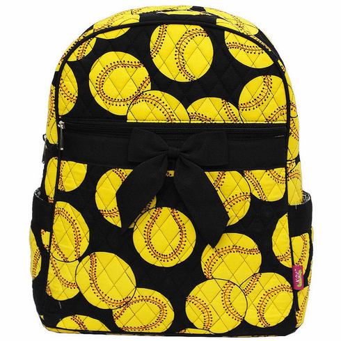 Softballs on Black Quilted Backpack<br>ONLY 3 LEFT!
