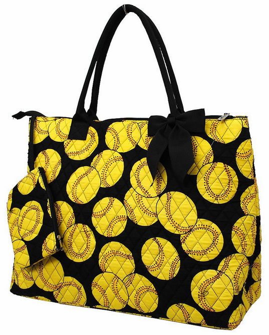NGIL Softballs on Black Quilted Large Tote Bag<br>ONLY 2 LEFT!