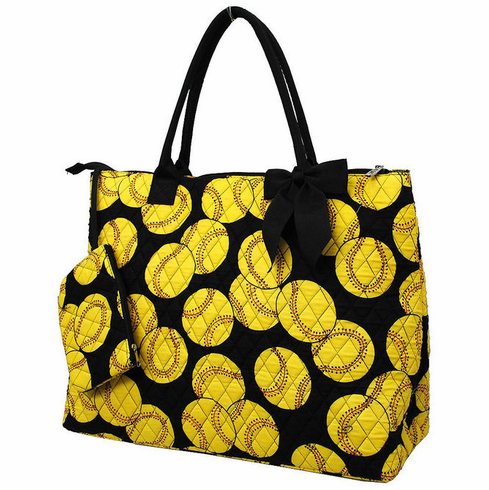 NGIL Softballs on Black Quilted Large Tote Bag<br>ONLY 1 LEFT!