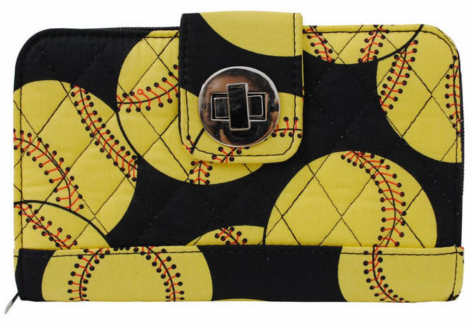 NGIL Softballs on Black Quilted Women's Wallet<br>ONLY 3 LEFT!