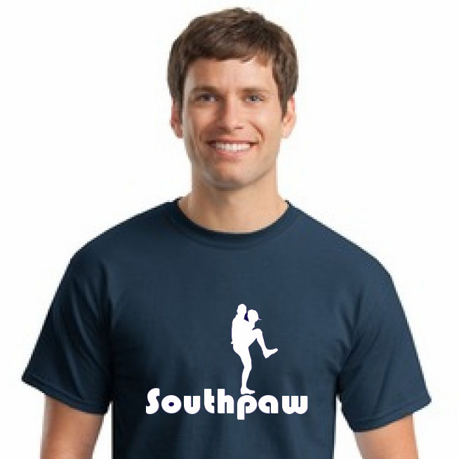 Southpaw Baseball Pitcher T-Shirt<br>Choose Your Colors<br>Youth Med to Adult 4X