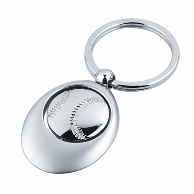 Spinning Baseball Silver Key Ring